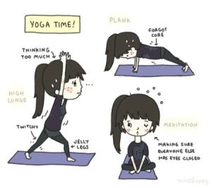 Cartoon of anxious girl doing yoga. Source: 365daysyoga.tumblr.com